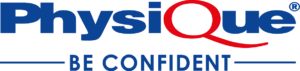 Physique Be Confident written logo in blue and red